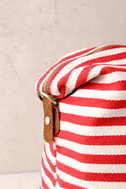 Jet Setter Cream and Red Striped Weekender Bag 3