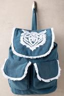 Next Adventure Denim Blue Embroidered Backpack 2