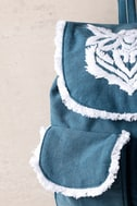 Next Adventure Denim Blue Embroidered Backpack 3