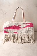 Beach Baby Beige and Pink Woven Tote Bag 2