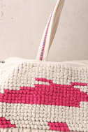 Beach Baby Beige and Pink Woven Tote Bag 3