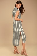 Billabong Mad Times Black and Cream Striped Shirt Dress 2