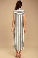 Billabong Mad Times Black and Cream Striped Shirt Dress 3