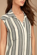 Billabong Mad Times Black and Cream Striped Shirt Dress 4