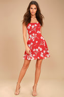 Blooming Beauty Red Floral Print Dress 2