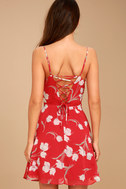 Blooming Beauty Red Floral Print Dress 1