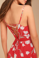 Blooming Beauty Red Floral Print Dress 3