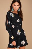 Free People Sunshadows Washed Black Floral Print Mini Dress 3