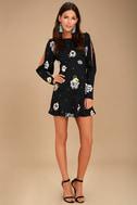 Free People Sunshadows Washed Black Floral Print Mini Dress 2