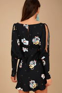 Free People Sunshadows Washed Black Floral Print Mini Dress 1
