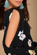 Free People Sunshadows Washed Black Floral Print Mini Dress 4