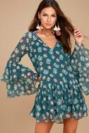 Billabong Stevie Sunday Blue Floral Print Long Sleeve Dress 3