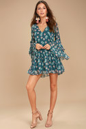 Billabong Stevie Sunday Blue Floral Print Long Sleeve Dress 2
