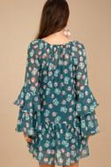 Billabong Stevie Sunday Blue Floral Print Long Sleeve Dress 4