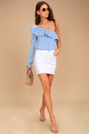 J.O.A. Always Dreaming Periwinkle Blue One Shoulder Top 3