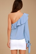 J.O.A. Always Dreaming Periwinkle Blue One Shoulder Top 2