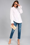J.O.A. Sweet Magnolia White Long Sleeve Button-Up Top 1