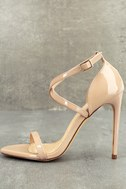 Trixy Nude Patent Ankle Strap Heels 1