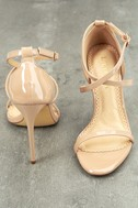 Trixy Nude Patent Ankle Strap Heels 3