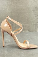 Trixy Nude Patent Ankle Strap Heels 2