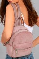Baby Got Back-Pack Mauve Pink Corduroy Mini Backpack 1