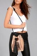 Top-Notch Rose Gold Snake Print Bucket Bag 1