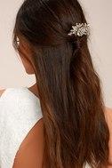 Peak of Perfection Gold Rhinestone Hair Comb 1