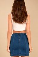 Free People Modern Femme Dark Wash Denim Mini Skirt 5
