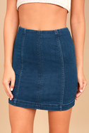 Free People Modern Femme Dark Wash Denim Mini Skirt 4