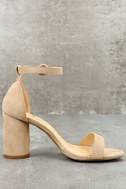 Audrina Nude Suede Ankle Strap Heels 6