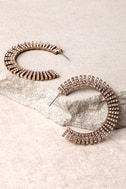 Glamorous Life Gold Rhinestone Hoop Earrings 4