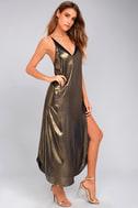 Free People Anytime Shine Gold Slip Dress 6
