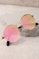 Sonix Ace Gold and Pink Mirrored Sunglasses 4