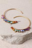 Prismatic Gold and Rainbow Rhinestone Hoop Earrings 2