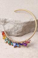 Prismatic Gold and Rainbow Rhinestone Hoop Earrings 3