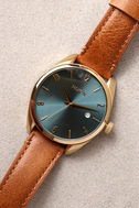 Nixon Bullet Light Gold and Turquoise Leather Watch 3