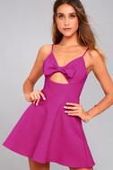 Better Bow-lieve It Magenta Skater Dress 6