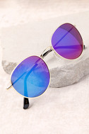 Perverse Lainey Gold and Blue Mirrored Sunglasses 2