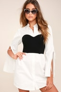 Sultry Business Black and White Shirt Dress 4