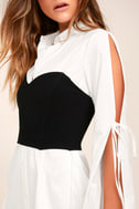 Sultry Business Black and White Shirt Dress 3