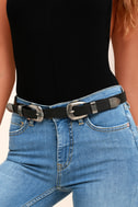 Quick on the Draw Black and Silver Double Buckle Belt 4