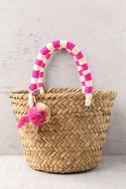 KAYU Mini St. Tropez Beige and Pink Woven Basket Bag 2