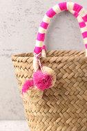 KAYU Mini St. Tropez Beige and Pink Woven Basket Bag 3
