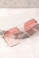 Funky Town Pink and Gold Aviator Sunglasses 2