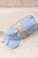 Perverse Crisp Gold and Light Blue Aviator Sunglasses 3