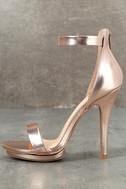 Samantha Rose Gold Platform High Heel Sandals 1