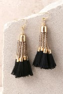 Stylista Gold and Black Beaded Tassel Earrings 2