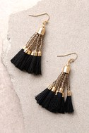 Stylista Gold and Black Beaded Tassel Earrings 3