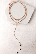 Sybella Rose Gold Layered Choker Necklace 2