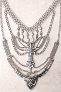 All Fleur You Silver Rhinestone Layered Statement Necklace 2